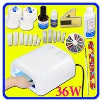UV GEL NAIL ART TOOL KIT+36W UV LAMP CURING Dryer Art Tips +2 PCS TUBE 50#