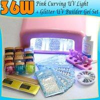 36W Pink Curving UV Light Lamp + Glitter UV Nail Art Builder Gel Tool Set 51#