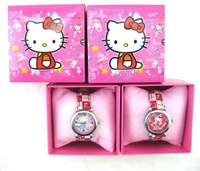 Christmas Gift 12pcs/lot Hello kitty  clock watch Wristwatches With + Free Shipping