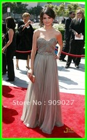 Newest! 2012 Sweetheart Backless Chiffon Draped Ruched Selena Gomez Ammys Dress Celebrity Dresses Gowns