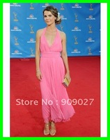 New Arrival! 2012 Pink Deep V-Neck Halter Chiffon Ruched Draped Keri Russell Emmys Dress Celebrity Dresses Gowns