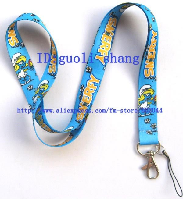 Wholesale Free shipping 10pcs Cute The Smerfy Cell Phone MP3 Strap NECK Lanyard Charm