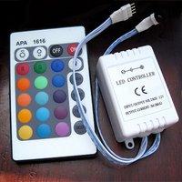 Free Shipping 24 keys Wireless LED Light Bulb Infrared IR Remote Controller + (DC 12V) LED Light Controller