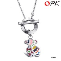 OPK JEWELRY HOT !!BRAND NEW DESIGN lovely beautiful stainless steel pendant necklace  with little bear charm free shipping 669