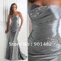 Free Shipping!!! Model E002  Flirt prom Beaded satin 2011 lastest silver grey evening dress