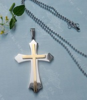 CS17- free shipping 10pcs/lot wholesale fashion titanium steel cross pendant stainless steel cross pendant silver necklace