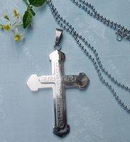 CS32- free shipping 10pcs/lot wholesale fashion titanium steel cross pendant stainless steel cross pendant silver necklace