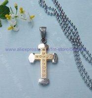 CS066 free shipping 10pcs/lot wholesale fashion titanium steel cross pendant stainless steel cross pendant silver necklace