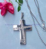 CS094 free shipping 10pcs/lot wholesale fashion high-grade titanium steel cross pendant stainless steel cross pendant necklace