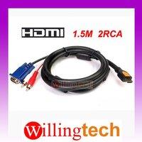 1.5m HDMI To 2 RCA VGA Audio Video AV component Cable