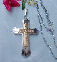 CS110 free shipping 10pcs/lot wholesale fashion high-grade titanium steel cross pendant stainless steel cross pendant necklace