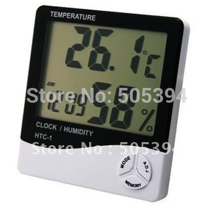 Free shipping Digital Temperature Humidity Meter Thermometer LCD Clock Alarm 9718(China (Mainland))