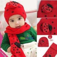 christmas gift  wholesale girl baby hat scarf,Ladybug Knitted cap