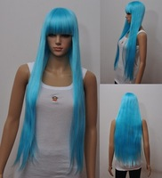 Light blue Wigs long Straight hair Halloween wig Party wig Cosplay Wigs 10pcs/lot New