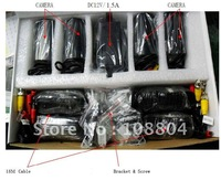 CCTV Combo kit, 4 color ccd camera,12pcs leds,view distance 15m,4way splitter, pwoer,1/4SONY CCD