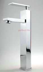 Free Shipping New Style Long Neck Brass Chrome Bathroom Basin Sink Faucets Water Tap Mixer b8314A(China (Mainland))