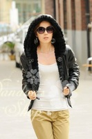 (CD-056)free shipping women's Faux sheepskin jacket with hood/Faux rabbit fur jacket/Double Face/leather jacket/wholesale price