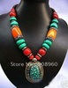 handmade Tibet silver Buddha bead Red Coral Turquoise Pendants Necklace fashion jewelry