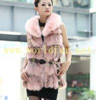 BY-HN-G026 Fashion Waistcoat for Women,Pink fox fur coat, fox fur vest