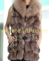 BY-HN-G027 Fashion Waistcoat for Women,Camel fox fur coat, fox fur vest
