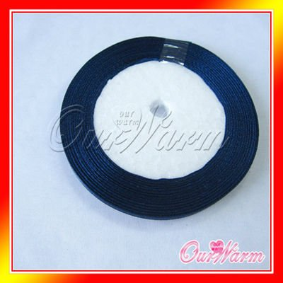 "Free Shipping 1 Roll 25 Yards 1/4"" 6mm New Navy Blue Satin Ribbon Craft Bow Wedding Present Supply Decoration Colors Sale Hot(China (Mainland))"