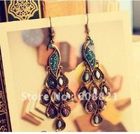 Серьги-гвоздики RE00 Hollow crystal drop earrings fashion multi-slice Color jewelry 16a-6.6 50D