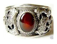Superb Jewelry tibet silver red jade bracelet Bangle shipping free A8