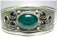 Superb Jewelry genuine Tibet Silver jade Bracelet Bangle shipping free