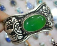 Superb Jewelry genuine Tibet Silver Green Jade Bracelet Bangle shipping free