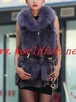 BY-HN-G037 Fashion Waistcoat for Women,  Purple  fox fur