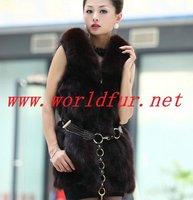 BY-HN-G039 Fashion Waistcoat for Women,  Coffee  fox fur