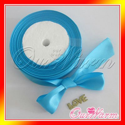 "Free Shipping 1 Roll 25 Yards 1"" 25mm Brand New Aqua Blue / Turquoise Satin Ribbon Craft Bow Wedding Present Supply Decor Colors(China (Mainland))"