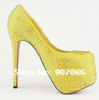 Big Size ! Free Shipping ! Genuine Leather Hot sales Shoes Red Sole Shoes 16cm 14cm YELLOW PMC-1-Y