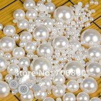 DIY Pearl Beads Imitation Half Round Flatback Pearl Laptop Cellphone Nail Key Chain Sticker 50lots