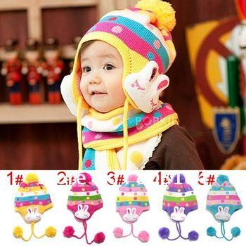 CUTE Baby hat 50 pcs/lots wholesale Baby Rabbit Flowers cap Children's Warm  kntted hat Kids Crochet hat