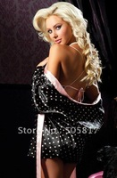 Free shipping  Sexy satin gowns  women night robes sexy chemise lingerie black/red S68873