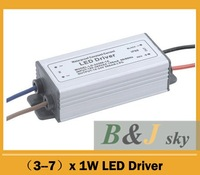 High quaity, (3-7)*1w,3w 4w 5w 6w 7w led waterproof driver,for led lighting,free shipping