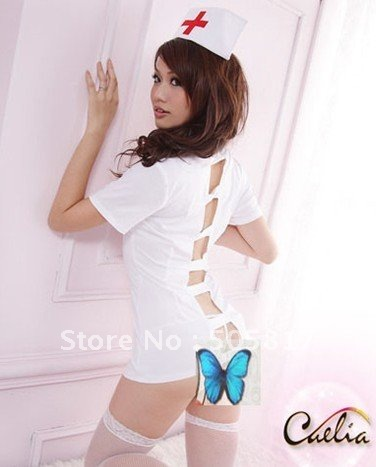 ON SALE Free shipping Sexy uniform lingeries underwear sexy nurse doctor halloween costume white H8117(China (Mainland))