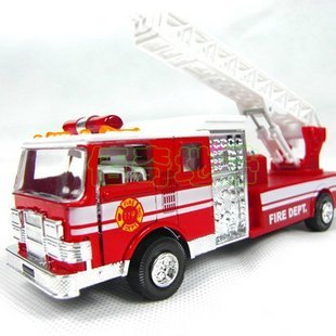 free shipping,The United States fire engines, cloud ladder car, fire truck toy sound and light alloy models(China (Mainland))