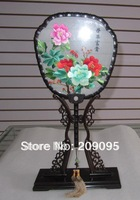 Chinese hand made double-sided silk embroidery art peony palace fan collectible home decor Su Embroidery