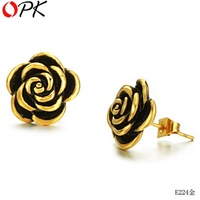OPK JEWELRY stainless steel  Stud Earrings , GOLD PLATED fashion females'jewelry,beautiful Rose -shape, FREE SHIPPING224