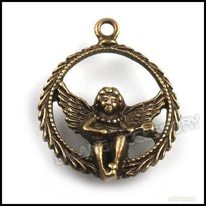60pcs lot Wholesale Love Angel Cupid Metal Pendant Vintage Bronze Fit Fashion Jewelry DIY 141522