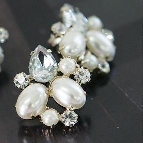 wholesale beautiful crystal pearl diamond earrings   stud