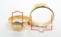 DIY Plating Gold Fashion Charm Adjustable Rings Base Blank Open Rings,Finger Rings Jewelry Finding 100pcs/lot