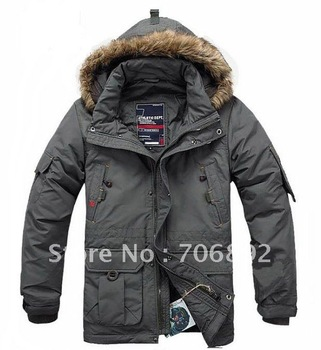 Hot selling black army green Men's goose down jacket coat goose leather down jacket waterproof M,L,XL,XXL,XXXL,XXXXL