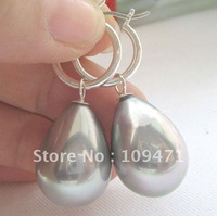 20mm bright gray south sea shell pearl earring-925 silver