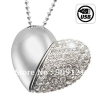 So Shining 8GB USB Flash Drive Necklace - Jeweled Metal Heart  Beautiful Birthday Gift For Girls