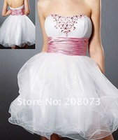 Strapless Beaded White Tulle 2012 Style : 9126 Short Prom Dress