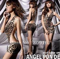 Wholesale - sexy leopard grain conjoined garment sexy lingerie 2pcs/lot