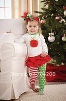 8 sets/lot-Chirstmas XMAS/Girl's Clothing Sets/Infant&Toddler Clothing sets/Santa Baby Clothing